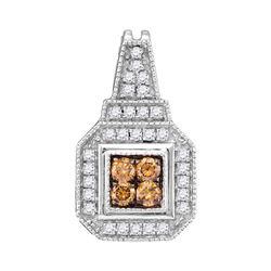 0.35 CTW Cognac-brown Color Diamond Square Cluster Pendant 10KT White Gold - REF-25N4F