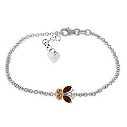 Genuine 0.60 ctw Garnet & Citrine Bracelet Jewelry 14KT White Gold - REF-41W6Y