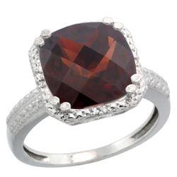 Natural 5.96 ctw Garnet & Diamond Engagement Ring 14K White Gold - REF-49V9F