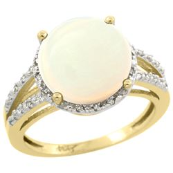 Natural 5.34 ctw Opal & Diamond Engagement Ring 10K Yellow Gold - REF-37F4N