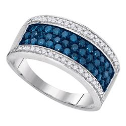 1 CTW Blue Color Diamond Triple Ring 10KT White Gold - REF-44X9Y