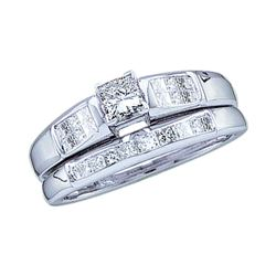 0.46 CTW Princess Diamond Bridal Engagement Ring 14KT White Gold - REF-75F2N