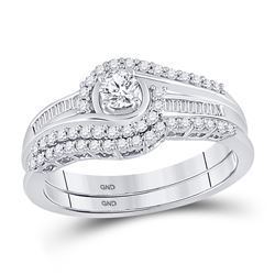 0.50 CTW Diamond Swirl Bridal Engagement Ring 10KT White Gold - REF-47F9N