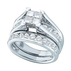 2 CTW Princess Diamond Bridal Engagement Ring 14KT White Gold - REF-211Y4X