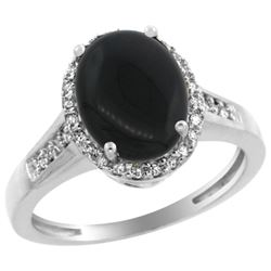 Natural 2.49 ctw Onyx & Diamond Engagement Ring 14K White Gold - REF-39K7R