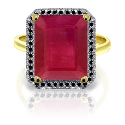 Genuine 7.45 ctw Ruby & Black Diamond Ring Jewelry 14KT Yellow Gold - REF-116Y6F