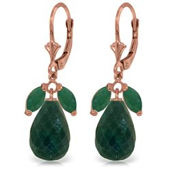 Genuine 18.6 ctw Emerald & Green Sapphire Corundum Earrings Jewelry 14KT Rose Gold - REF-49R3P
