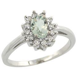 Natural 0.67 ctw Green-amethyst & Diamond Engagement Ring 14K White Gold - REF-48H6W