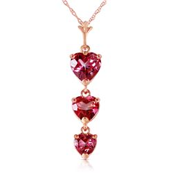 Genuine 3.03 ctw Pink Topaz Necklace Jewelry 14KT Rose Gold - REF-37A2K