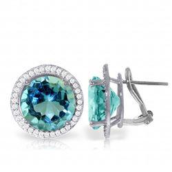 Genuine 16 ctw Blue Topaz & Diamond Earrings Jewelry 14KT White Gold - REF-123W4Y