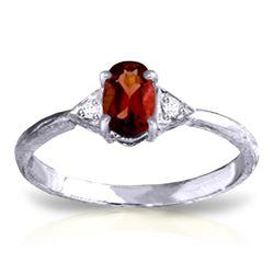 Genuine 0.46 ctw Garnet & Diamond Ring Jewelry 14KT White Gold - REF-22R5P