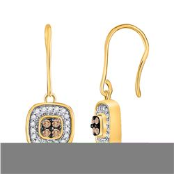 0.33 CTW Cognac-brown Color Diamond Dangle Earrings 14KT Yellow Gold - REF-34H4M