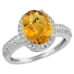 Natural 2.56 ctw Whisky-quartz & Diamond Engagement Ring 14K White Gold - REF-41A2V