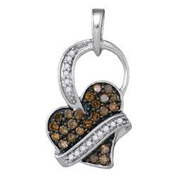 0.33 CTW Cognac-brown Color Diamond Heart Love Pendant 10KT White Gold - REF-14M9H