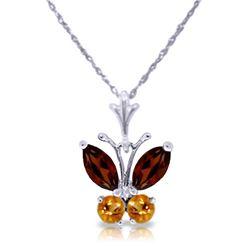 Genuine 0.60 ctw Garnet & Citrine Necklace Jewelry 14KT White Gold - REF-23W5Y