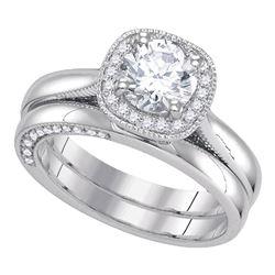 1.45 CTW Diamond Bridal Wedding Engagement Ring 14KT White Gold - REF-569H9M