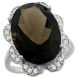 Natural 13.83 ctw smoky-topaz & Diamond Engagement Ring 14K White Gold - REF-124M4H