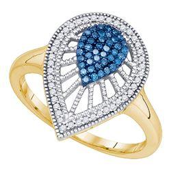 0.25 CTW Blue Color Diamond Teardrop Cluster Ring 10KT Yellow Gold - REF-30W2K