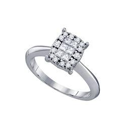 0.40 CTW Princess Diamond Soleil Cluster Bridal Engagement Ring 14KT White Gold - REF-59Y9X