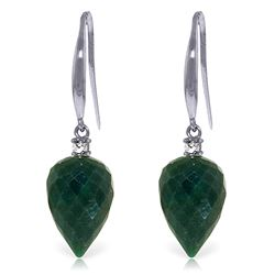 Genuine 25.9 ctw Green Sapphire Corundum & Diamond Earrings Jewelry 14KT White Gold - REF-42H9X