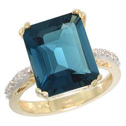 Natural 5.48 ctw London-blue-topaz & Diamond Engagement Ring 10K Yellow Gold - REF-41W3K