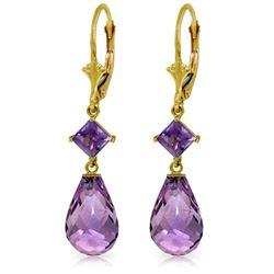 Genuine 11 ctw Amethyst Earrings Jewelry 14KT Yellow Gold - REF-39Y3F