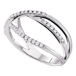 0.20 CTW Diamond Triple Strand Openwork Ring 14KT White Gold - REF-34K4W