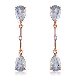 Genuine 6.01 ctw Aquamarine & Diamond Earrings Jewelry 14KT Rose Gold - REF-50W2Y
