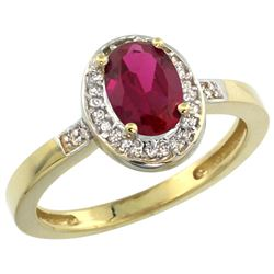 Natural 1.46 ctw Ruby & Diamond Engagement Ring 10K Yellow Gold - REF-38X9A