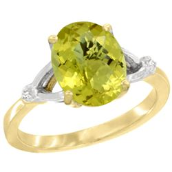 Natural 2.41 ctw Lemon-quartz & Diamond Engagement Ring 14K Yellow Gold - REF-33Z3Y