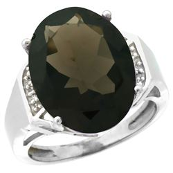 Natural 11.02 ctw Smoky-topaz & Diamond Engagement Ring 14K White Gold - REF-65M8H