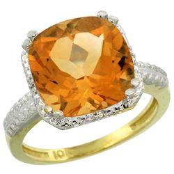 Natural 5.96 ctw Citrine & Diamond Engagement Ring 14K Yellow Gold - REF-42N3G