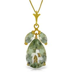 Genuine 6.5 ctw Green Amethyst Necklace Jewelry 14KT Yellow Gold - REF-38W6Y