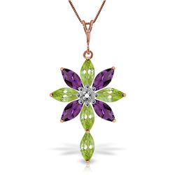 Genuine 2.0 ctw Peridot, Amethyst & Diamond Necklace Jewelry 14KT Rose Gold - REF-47R4P