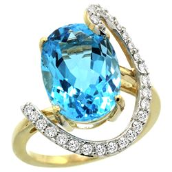 Natural 5.89 ctw Swiss-blue-topaz & Diamond Engagement Ring 14K Yellow Gold - REF-91Y4X
