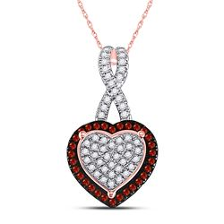 0.25 CTW Red Color Diamond Heart Love Pendant 10KT Rose Gold - REF-25H4M