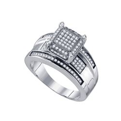 0.35 CTW Diamond Rectangle Cluster Bridal Engagement Ring 10KT White Gold - REF-49F5N