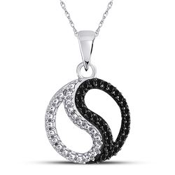 0.10 CTW Black Color Diamond Ying Yang Circle Pendant 10KT White Gold - REF-8M9H