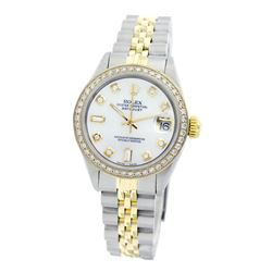 Rolex Pre-owned 26mm Womens Custom White Mother of Pearl Two Tone - REF-530Y4W