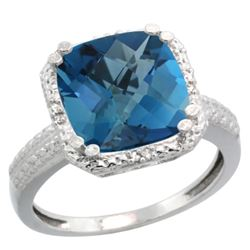 Natural 5.96 ctw London-blue-topaz & Diamond Engagement Ring 14K White Gold - REF-44A3V