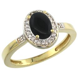 Natural 0.83 ctw Onyx & Diamond Engagement Ring 14K Yellow Gold - REF-30R2Z