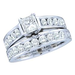 1.51 CTW Princess Diamond Bridal Engagement Ring 14KT White Gold - REF-240K2W