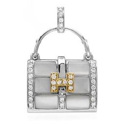 18k Two Tone Gold 0.30CTW Mother Of Pearl and Diamond Pendant, (I1-I2/White/H-I)