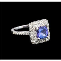 14KT White Gold 1.61 ctw Tanzanite and Diamond Ring