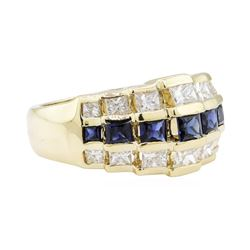 1.56 ctw Blue Sapphire and Diamond Ring - 14KT Yellow Gold