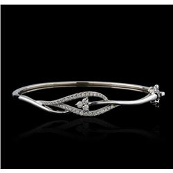 0.61 ctw Diamond Bangle Bracelet - 14KT White Gold