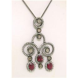 18k Black Gold 4.39 ctw Rose Diamond & Blood Ruby Necklace