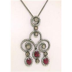 18k Black Gold 4.39 ctw Rose Diamond & Blood Ruby Necklace