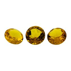 11.92 ctw.Natural Round Cut Citrine Quartz Parcel of Three