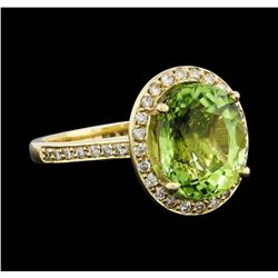 4.82 ctw Beryl and Diamond Ring - 14KT Yellow Gold